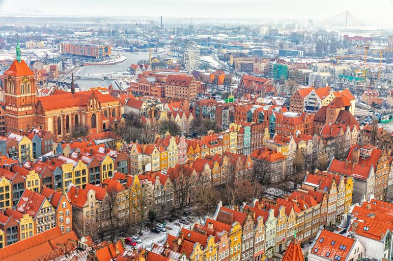 Colourful old european buildings of Gdansk, view from the basilica tower, Poland royalty free stock photo
