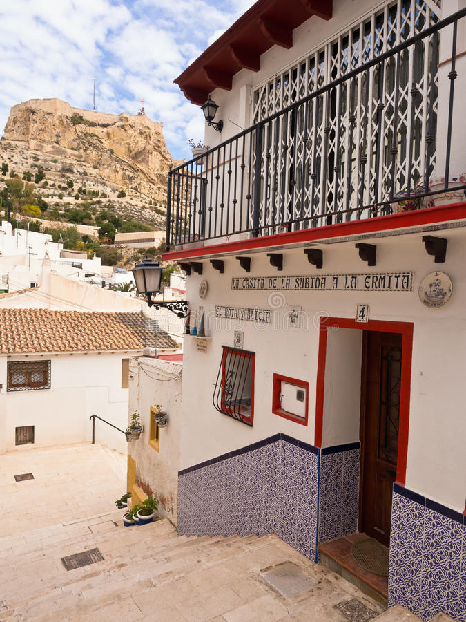 Colourful Old House in Alicante, Spain stock photos