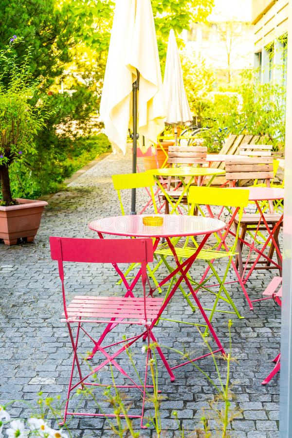 colourful outdoor patio chair stock images