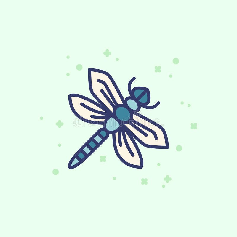 Colourful outline icon of a dragonfly vector illustration