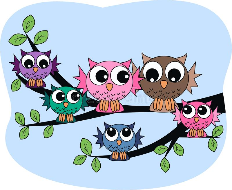 A colourful owl family. Sitting in a tree vector illustration