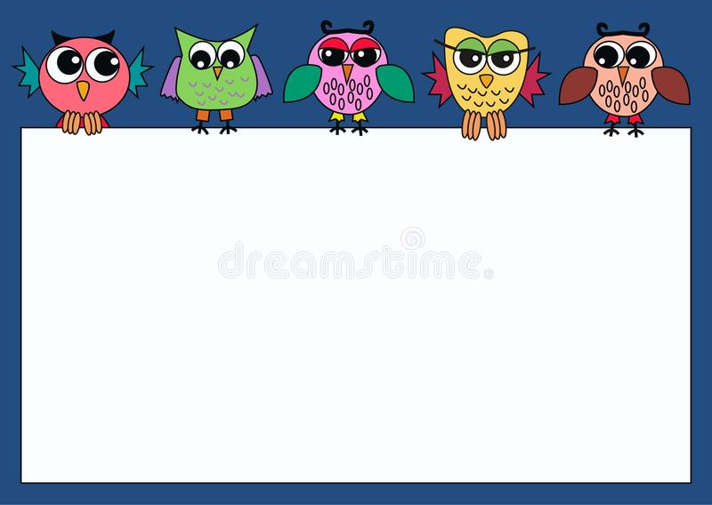 Colourful owls holding a sign stock illustration