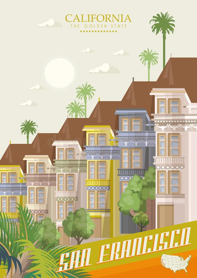 Colourful painted Victorian houses of the Haight Ashbury district in San Francisco. Vector travel poster with California landmarks royalty free illustration