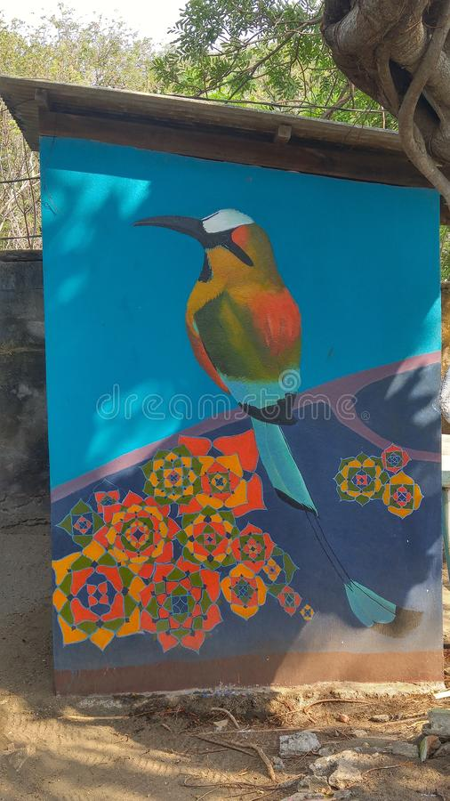 Colourful painting of Guardabarranco, the National bird of Nicaragua stock image