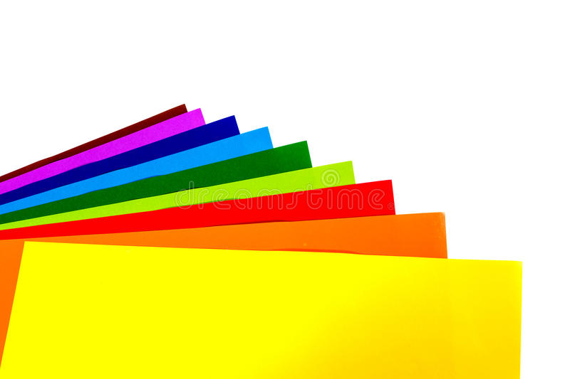 Colourful Paper isolated on white royalty free stock images