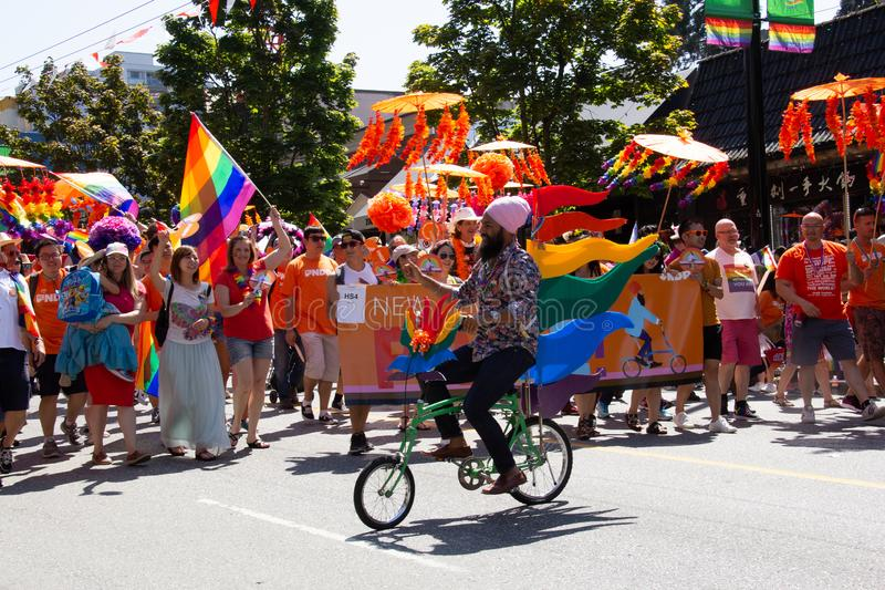 Vancouver, British Columbia, Canada - August 4, 2019: People Take part in Vancouver Gay Pride Parade 2019 stock photos