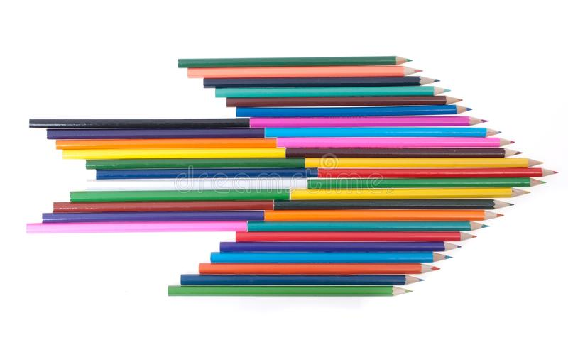 Colourful pencils in shape of arrow royalty free illustration