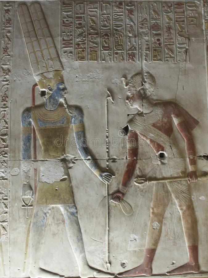 Pharaohs on the walls on Egypt. Colourful Pharaohs on the walls on Egypt temples stock photography