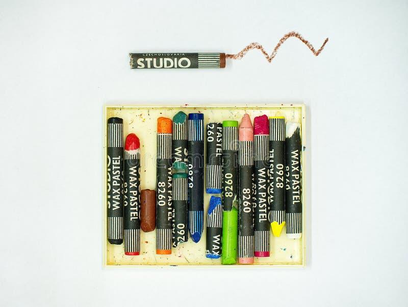 Wax crayon set. Colourful pieces of drawing wax royalty free stock photos