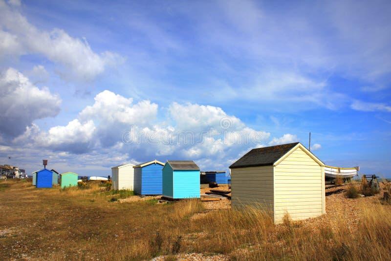 Colourful plażowe budy Littlestone Kent UK zdjęcia royalty free