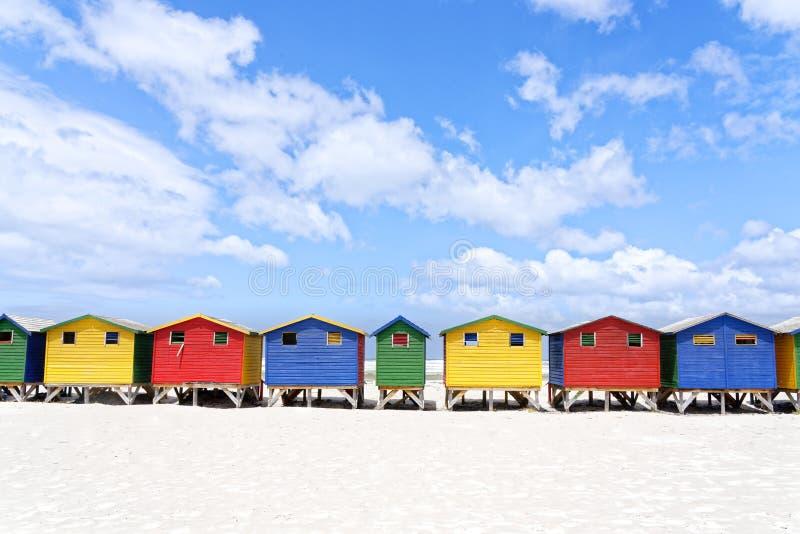 Colourful Plażowi domy w Muizenberg Kapsztad zdjęcie stock