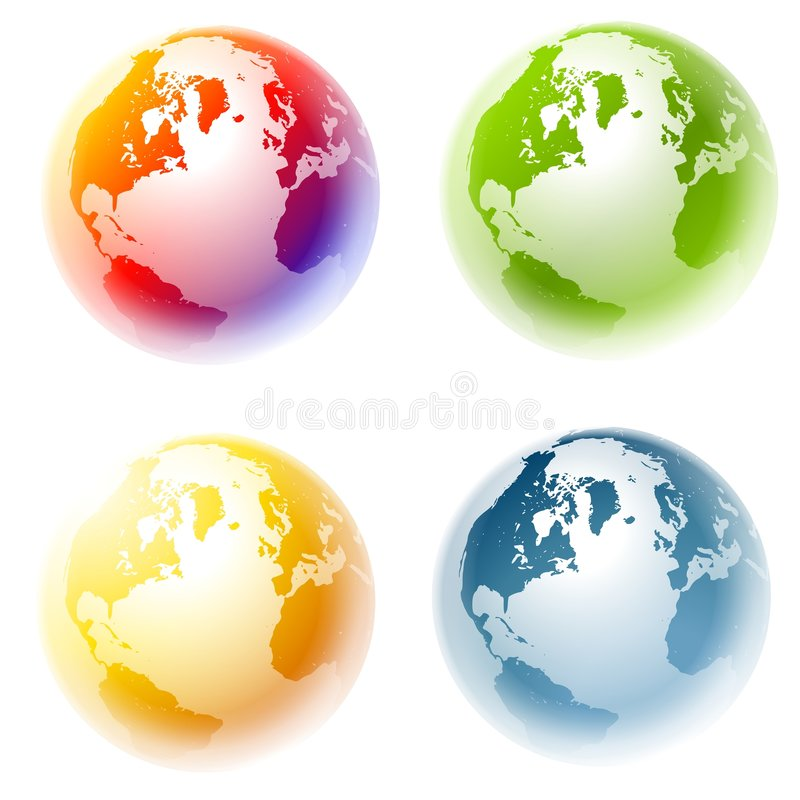Colourful Planet Earth Globes royalty free stock photography