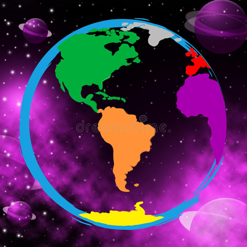 Download Colourful Planets Shows Solar System And Globalise Stock Illustration