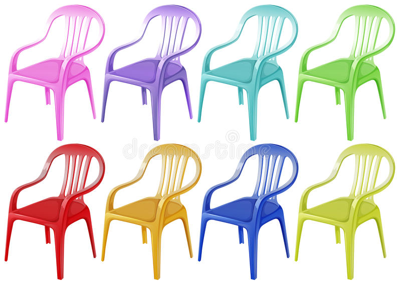 Colourful plastic chairs stock illustration