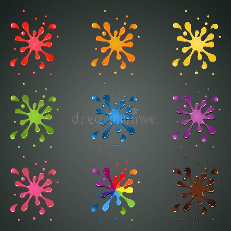Colourful pluśnięcia z kroplami ilustracji