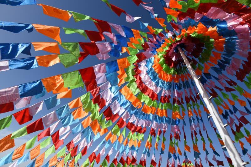 Colourful prayer flags stock photos