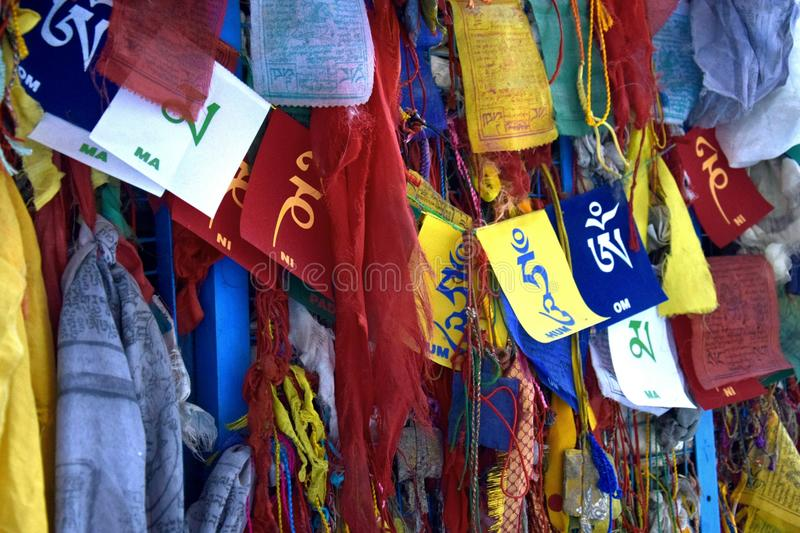 Prayer Flags. Colourful prayer flags outside a Buddhist Monastery royalty free stock photos