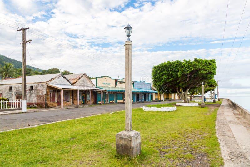 Colourful pusty nadbrzeże stary kolonialny kapitał Fiji, Levuka miasteczko -, Ovalau wyspa, Lomaiviti archipelag, Fiji, Melanesia fotografia royalty free
