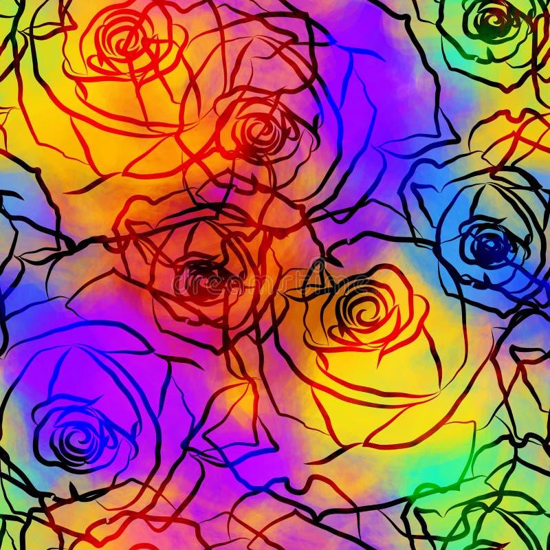 Colourful róży barwidła i krawata wektoru Kwiecisty tło ilustracji