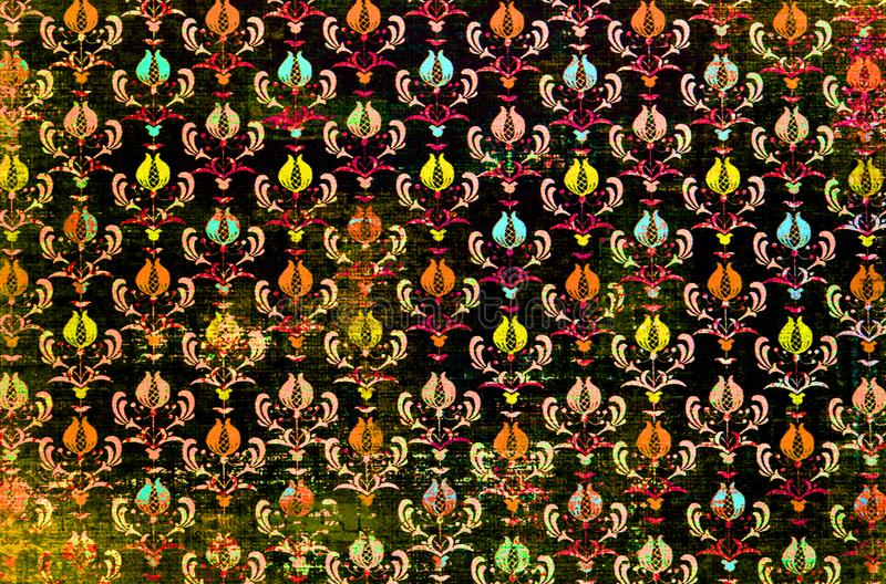 A colourful repeat pattern damask wallpaper. royalty free stock image