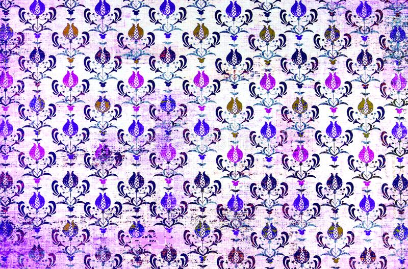 A colourful repeat pattern damask wallpaper. stock photos