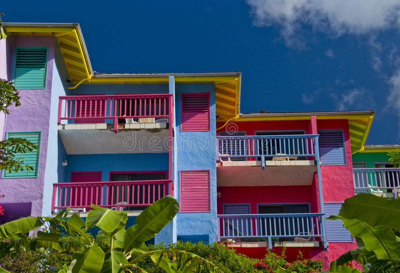 Colourful resort building stock photography