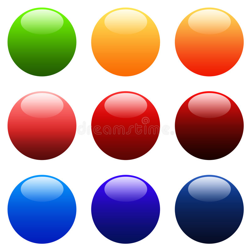 Colourful Round Gradient Web Buttons stock illustration