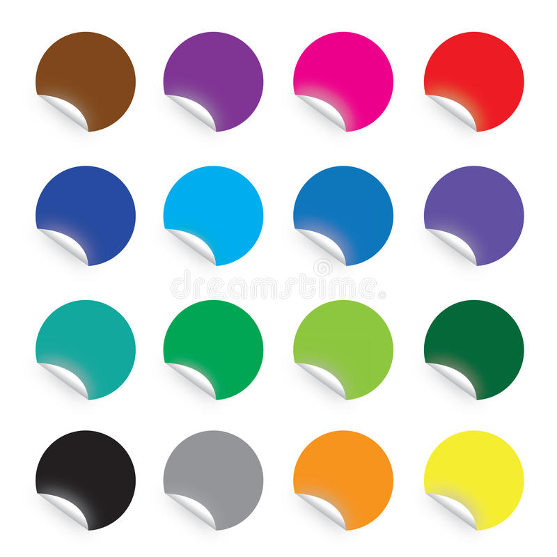 Colourful round stickers on white background stock photography