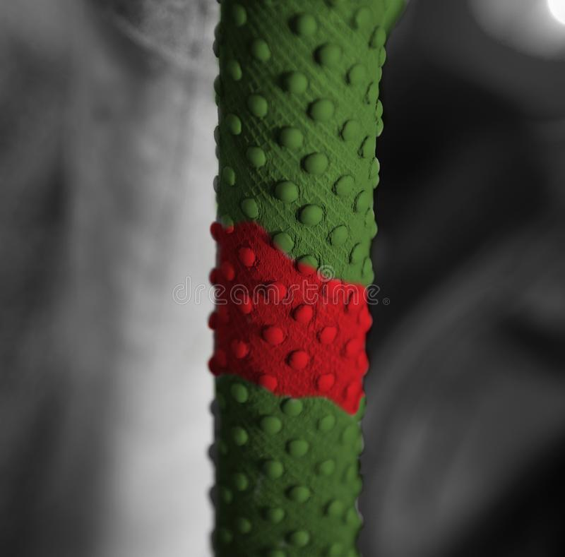 Colourful rubber grips of a cricket bat. A colourful rubber grips object of a cricket bat unique photo royalty free stock photography