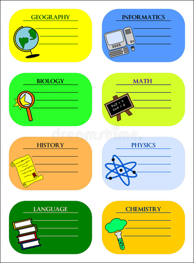 Download Colourful school labels stock illustration. Image of board - 25328394