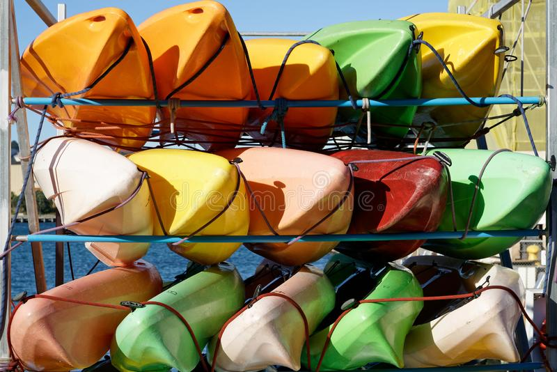Colourful sea kayaks on Wellington sea front, New Zealand royalty free stock photos
