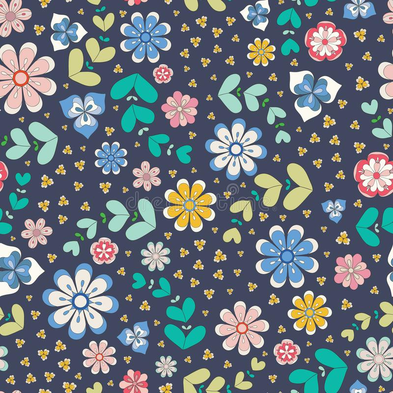 Colourful seamless repeat pattern of outlined stylized flowers and leaves. A pretty floral vector design in bright folk. Colours with a dark background, perfect stock illustration