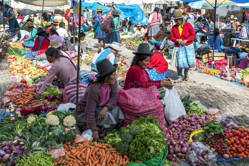 A colourful selection of fruit and vegetables at the market in Pisac in Peru. stock images