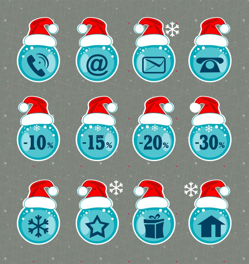 Christmas icons. Xmas sign for web sites. stock illustration