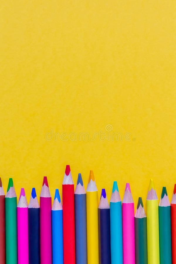 Colourful sharpened pencils. Close up. Copy space. royalty free stock image
