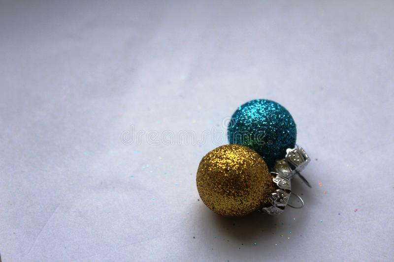 Colourful shiny Christmas baubles stock photo