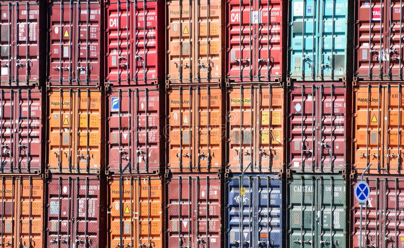 Freight shipping containers at the docks in Lisbon, Portugal. Colourful shipping containers at a shipping port in Portugal's capital city Lisbon royalty free stock photo