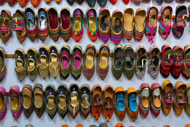 Colourful shoes of Rajasthani women, Jaisalmer, Rajasthan, India stock photography