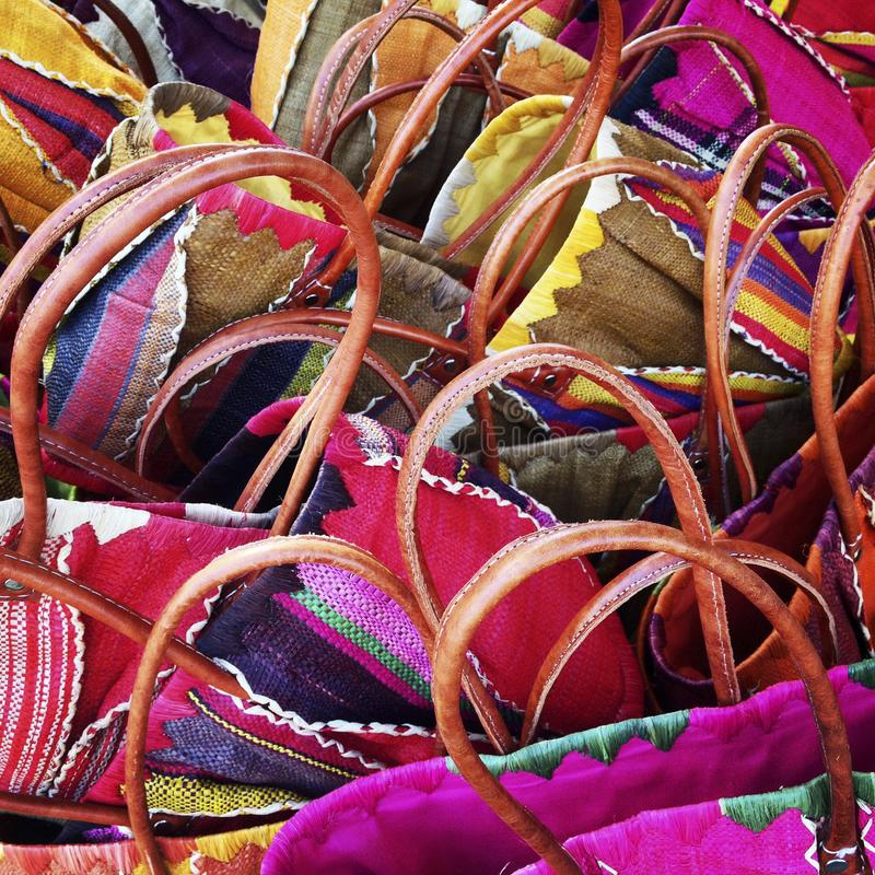 Colourful shopping baskets abstract stock photo