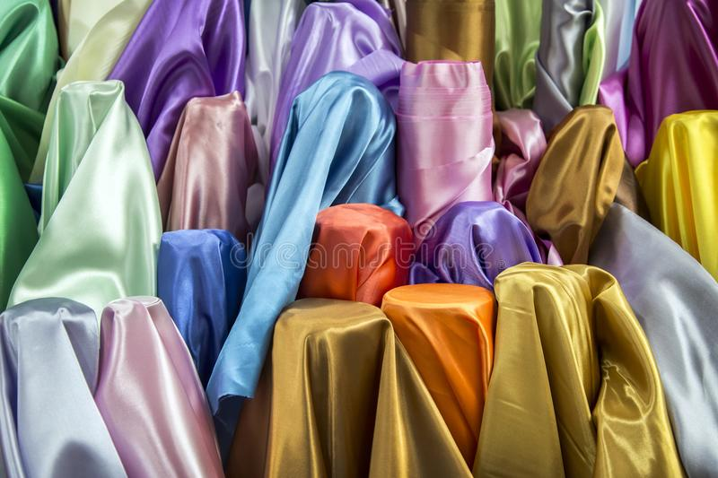 Silk fabric in colourful concept royalty free stock photos