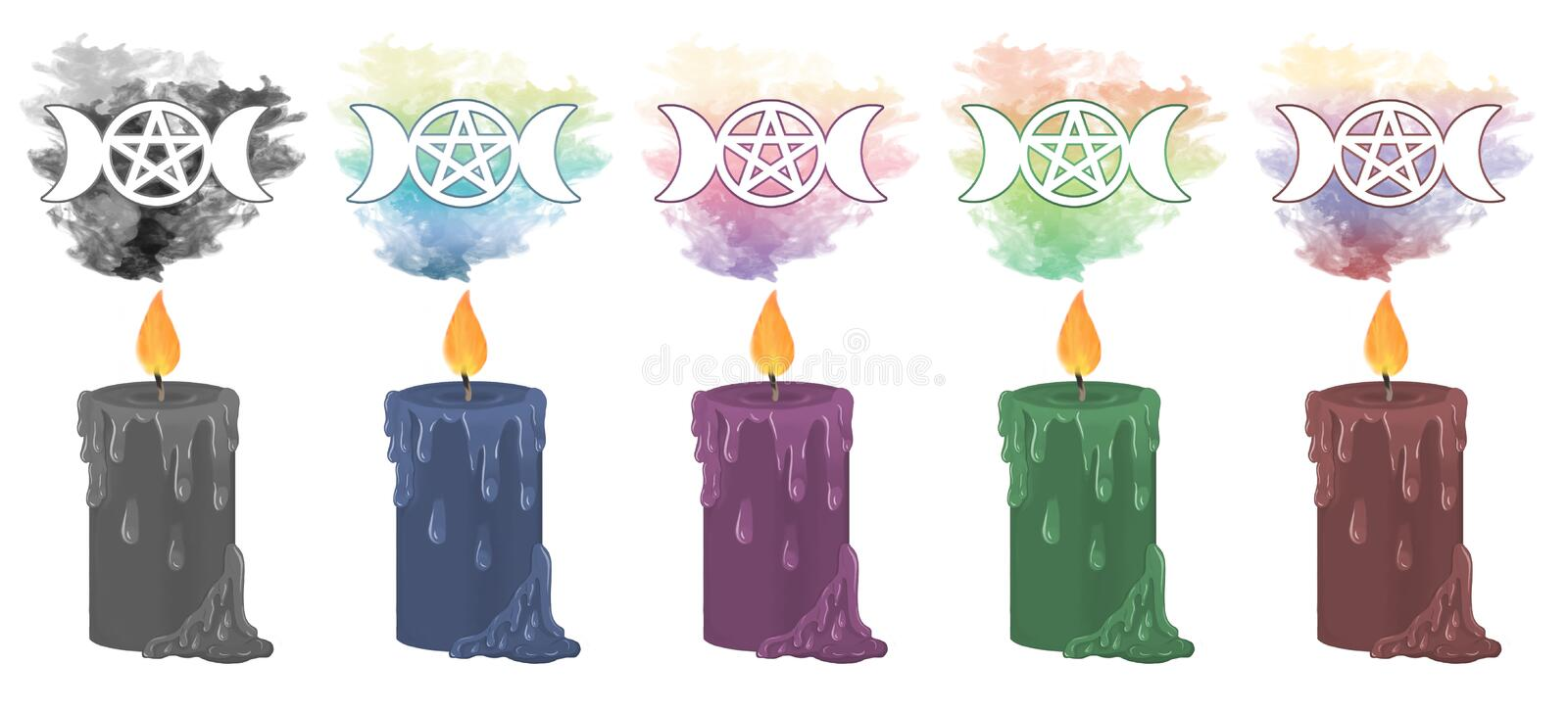 Pagan Goddess Symbol candles. Colourful smoke rising from decorative candles with the goddess symbol floating in the smoke above vector illustration