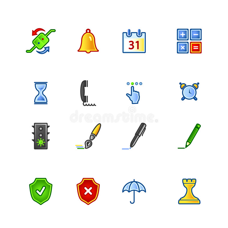 Colourful software icons. On the white background royalty free illustration