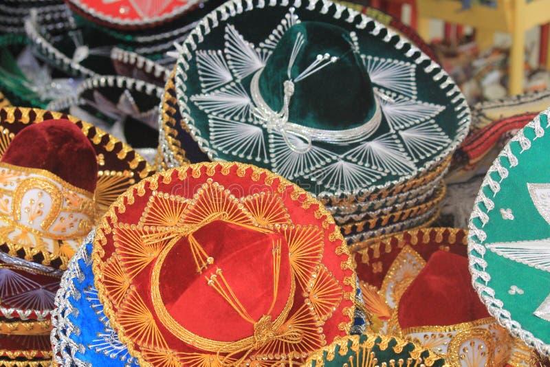 Colourful sombreros in Mexico stock photo