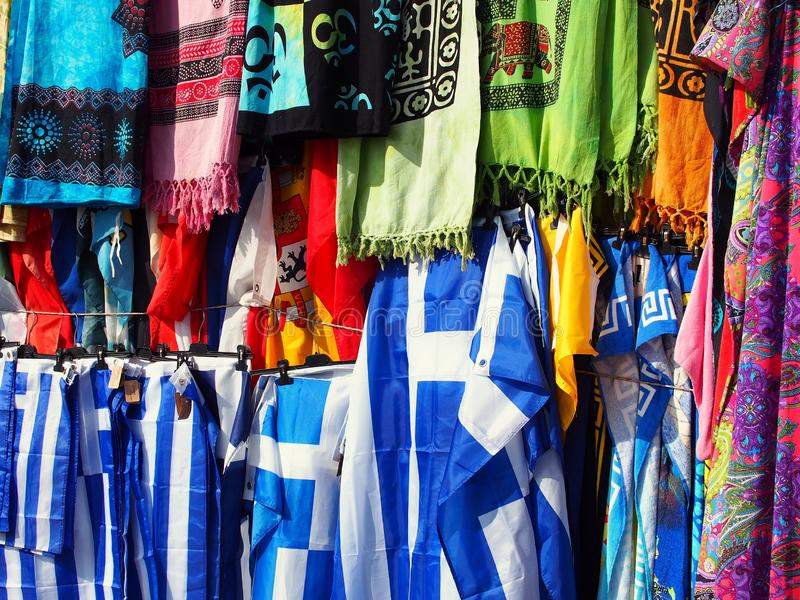 Colourful Shawls and Greek Flags, Plaka, Athens, Greece stock image
