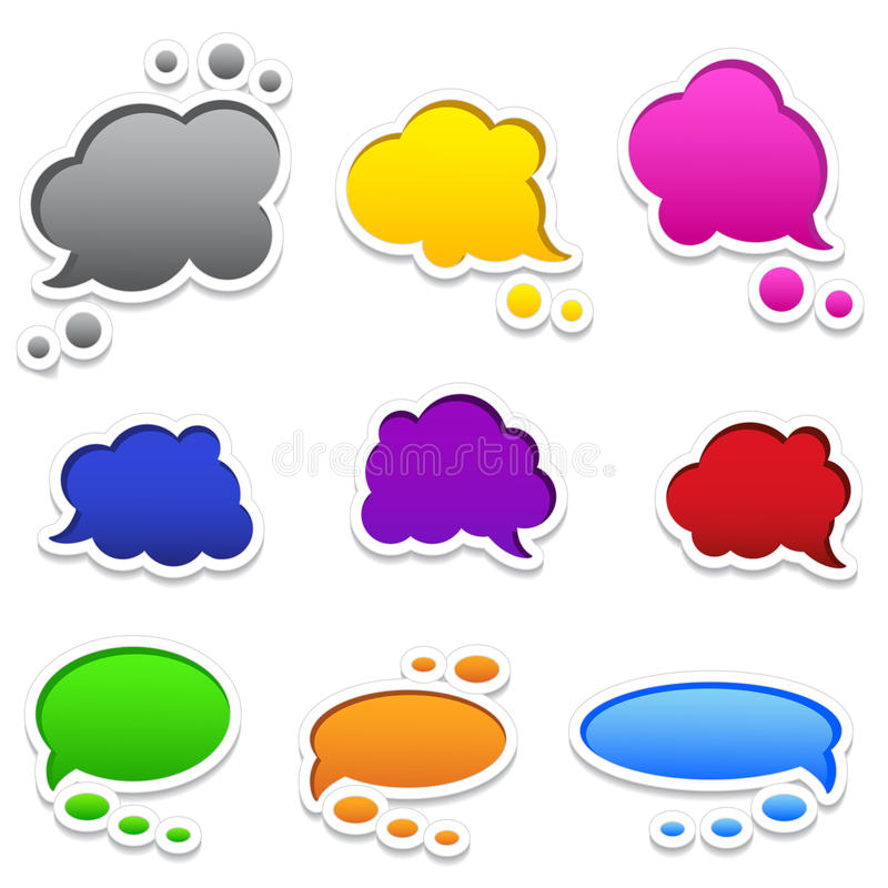 Colourful speech bubbles with frames set of 9 stock image