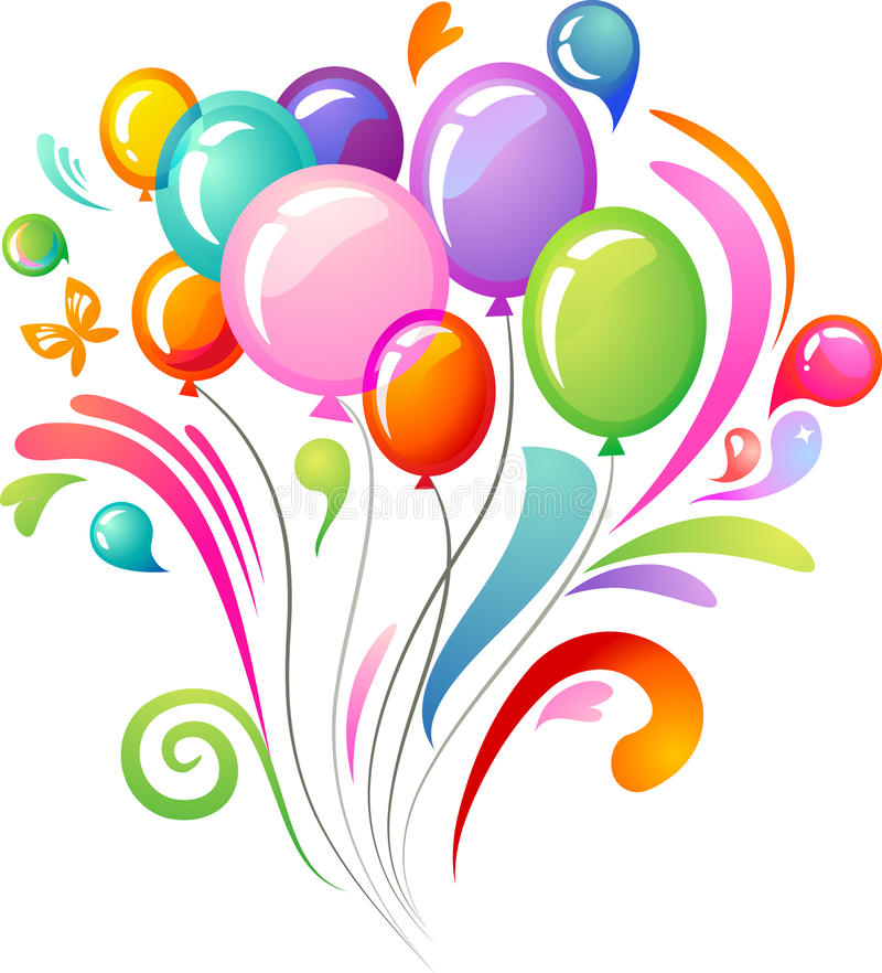 Colourful splash with party balloons vector illustration