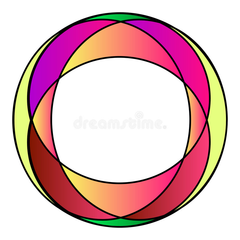 Colourful stained-glass photo frame stock illustration