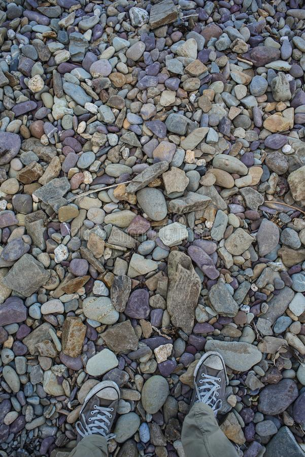 Colourful stones on a beach royalty free stock image