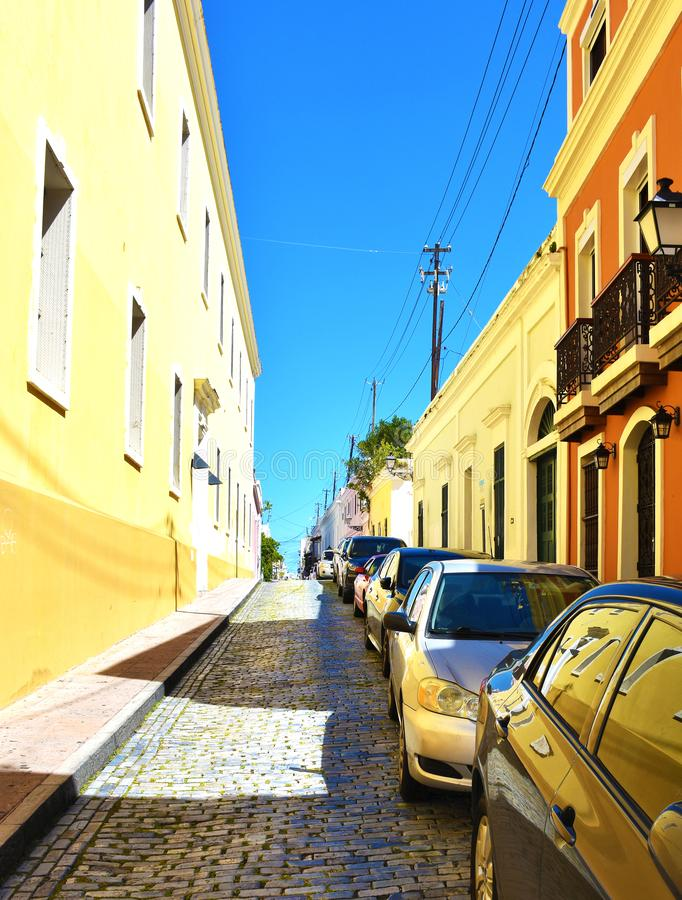 Colourful street in Old San Juan, Puerto Rico. USA royalty free stock images