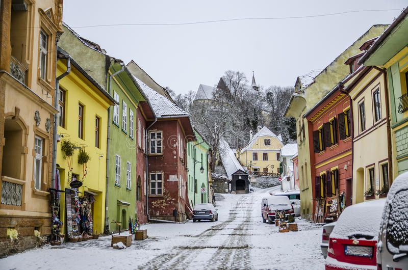 Colourful street in Sighisoara, Romania stock photos